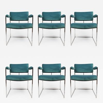 Milo Baughman Set of Six Dining Chairs Designed by Milo Baughman