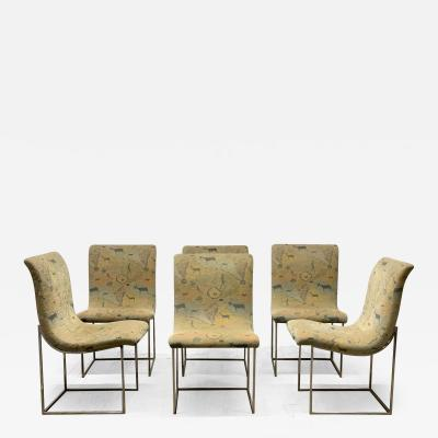 Milo Baughman Set of Six Milo Baughman Scoop Chrome Dining Chairs
