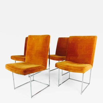 Milo Baughman Set of Ten Milo Baughman Brown Velvet and Chrome Dining Chairs