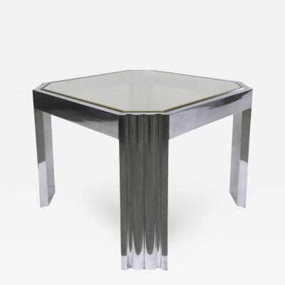 Milo Baughman Side Table by Milo Baughman In Polished Stainless and Brass