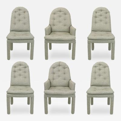 Milo Baughman Six Fully Upholstered Arch Back Dining Chairs Attr Milo Baughman