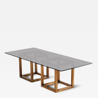 Milo Baughman Spectacular Form Milo Baughman Bronze And Smoked Glass Dining Table
