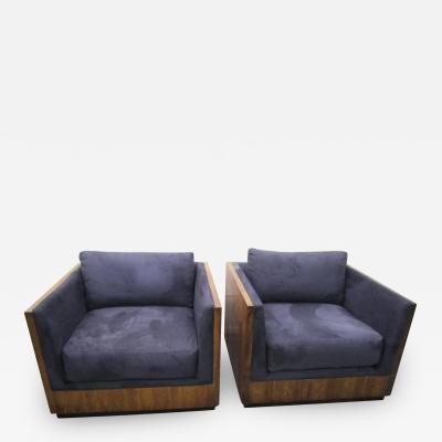 Milo Baughman Spectacular Pair Milo Baughman Art Deco Rosewood Cube Chairs Mid Century Modern
