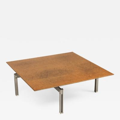 Milo Baughman Square Burl Wood Coffee Table With Steel Base 1970s