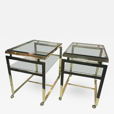 Milo Baughman Striking Pair of Brass Tea or Serving Carts by Milo Baughman