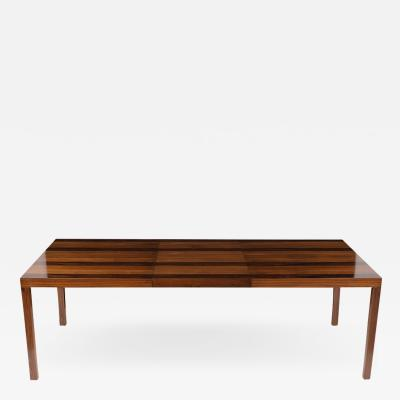Milo Baughman Striped Parson Extendable Dining Table by Milo Baughman