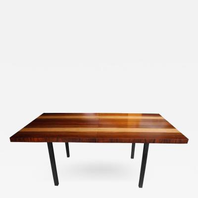 Milo Baughman Striped Wood Dining Table by Milo Baughman for Directional with Two Leaves