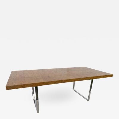 Milo Baughman Stunning Milo Baughman Long Olive Wood Chrome Dining Table