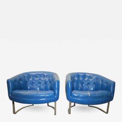 Milo Baughman Stunning Pair Milo Baughman style Barrel Back Chrome Lounge Chairs Mid Century