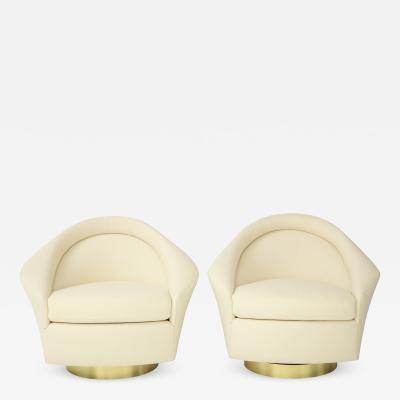 Milo Baughman Stunning Pair of Milo Baughman Swivel Chairs