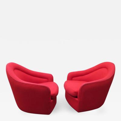 Milo Baughman Stunning Pair of Signed Milo Baughman Swivel Rocker Lounge Chairs Mid Century