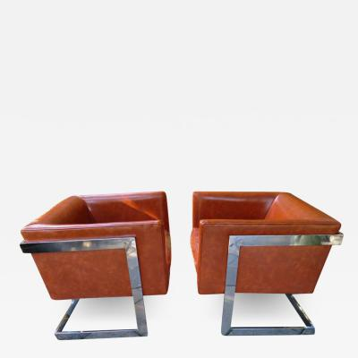 Milo Baughman Stunning Pair of Signed Milo Baughman Thayer Coggin Chrome Cube Chairs Modern