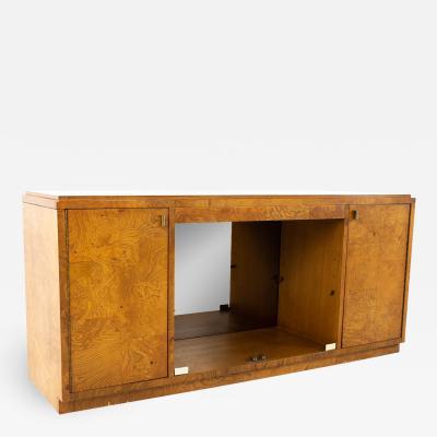 Milo Baughman Style Bernhardt Mid Century Burlwood Low Sideboard Buffet Credenza