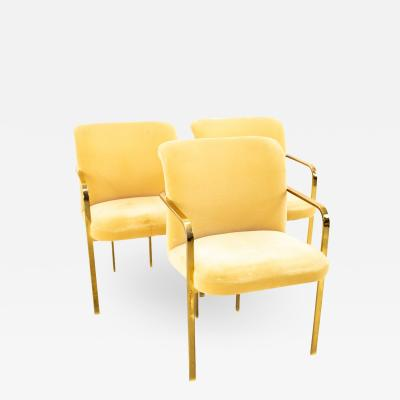 Milo Baughman Style Mid Century Brass Dining Chairs Set of 3
