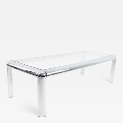 Milo Baughman Style Mid Century Chrome and Glass Coffee Table