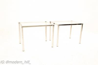 Milo Baughman Style Mid Century Chrome and Glass Side End Tables