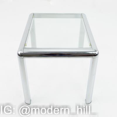 Milo Baughman Style Mid Century Chrome and Glass Table