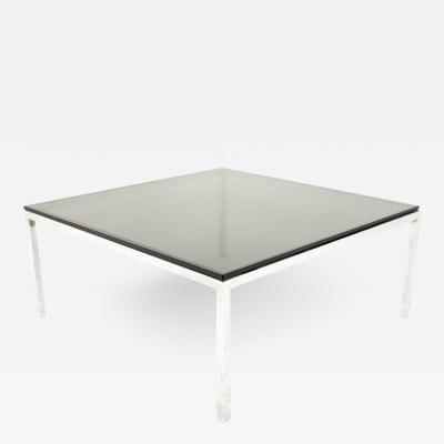 Milo Baughman Style Mid Century Chrome and Smoked Glass Coffee Table