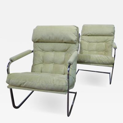 Milo Baughman Style Pair of Sling Chrome Lounge Chairs