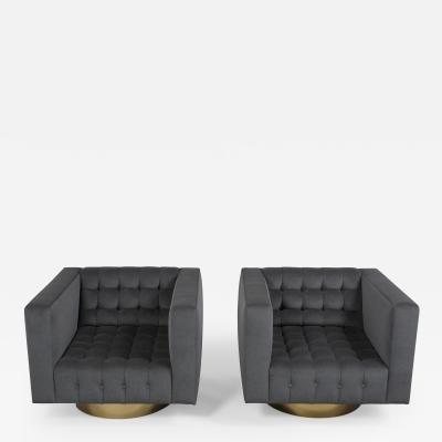 Milo Baughman Style Swivel Lounge Chairs