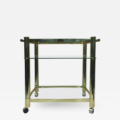 Milo Baughman Terrific Three Tier Brass Tea Cart in the Manner of Milo Baughman