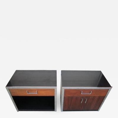 Milo Baughman Two Milo Baughman Rosewood Chrome and Black Lacquer Night Stands