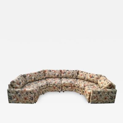 Milo Baughman Two Piece Bold Semi Hexagonal Sectional Sofa in the Manner of Milo Baughman