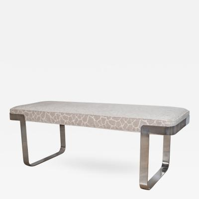 Milo Baughman Upholstered Bench with Chrome Supports by Milo Baughman