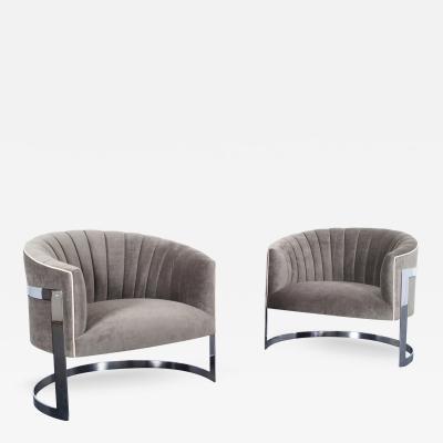 Milo Baughman Vintage Chrome Barrel Lounge Chairs by Milo Baughman