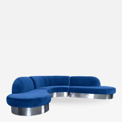 Milo Baughman Vintage Chrome Curved Sectional Sofa by Milo Baughman