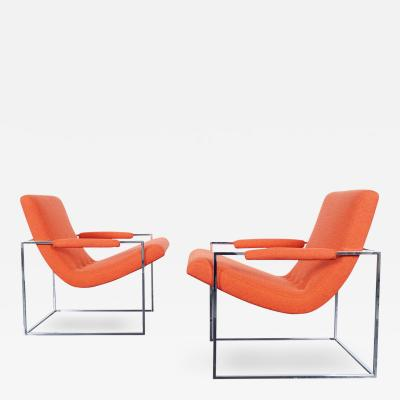 Milo Baughman Vintage Chrome Lounge Chairs by Milo Baughman