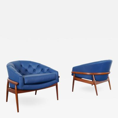 Milo Baughman Vintage Leather Tufted Barrel Lounge Chairs