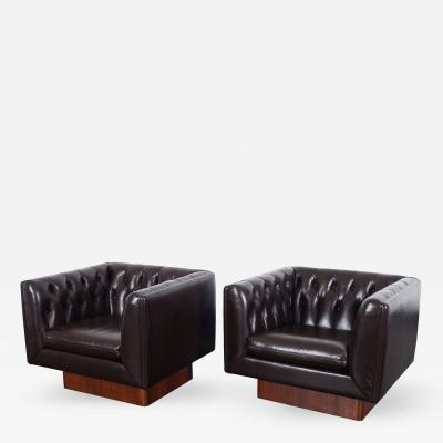Milo Baughman Vintage Tufted Leather Lounge Chairs by Milo Baughman