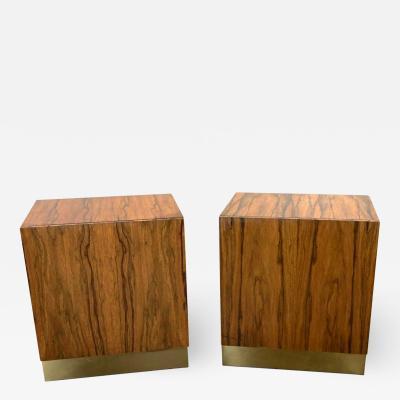 Milo Baughman Vintage modern rosewood pair of cube nightstands by milo baughman