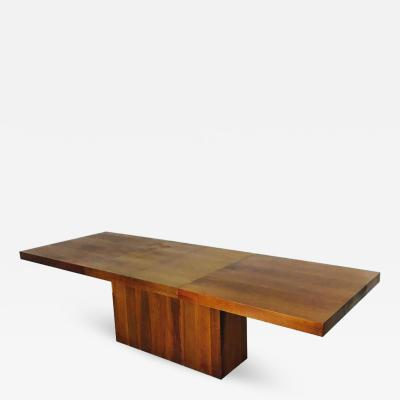 Milo Baughman Walnut Dining Table with Leaves by Milo Baughman for Dillingham