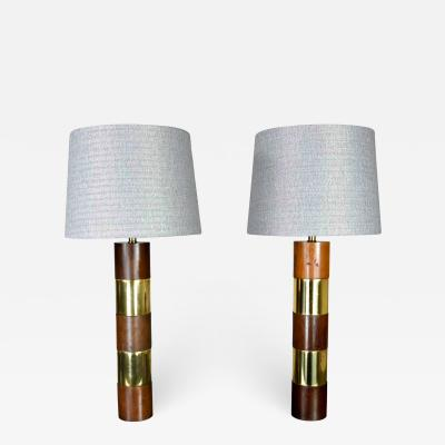 Milo Baughman Wood brass plate banded pair of lamps in the style of milo baughman