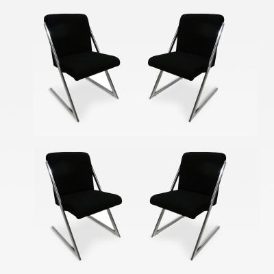 Milo Baughman Z Chairs in the Manner of Milo Baughman Set of Four