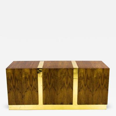 Milo Baughman Zebra Wood and Brass Credenza by Milo Baughman