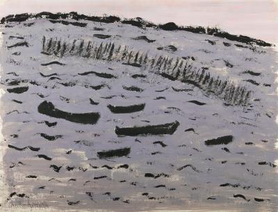 Milton Clark Avery Sunset Harbor Choppy Bay 1956