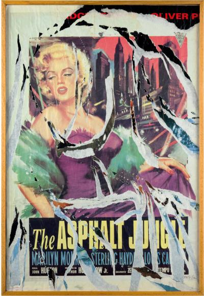 Mimmo Rotella Mimmo Rotella Marilyn Collage Painting Italy 1990 Signed