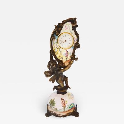 Miniature Austrian Enamel Sterling Silver Bronze Desk Clock