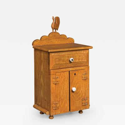 Miniature Grain Painted Cupboard with Carved Rooster Ornament