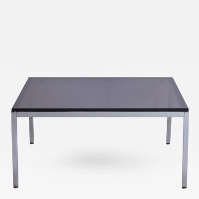 Minimalist Square Chrome Cocktail Table with Smoke Glass