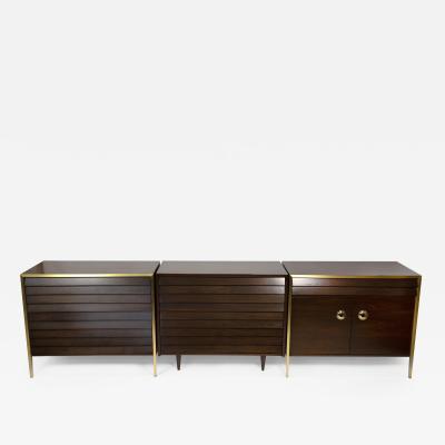 Minoru Yamasaki 1960s Italian Walnut Architectural Bronze Bedroom Cabinets Nightstands