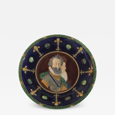 Minton Majolica Double Portrait Charger of Henri IV and Maria de Medici 1858