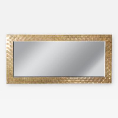 Mir Century Modern Brass Basketweave Style Decorative Mirror