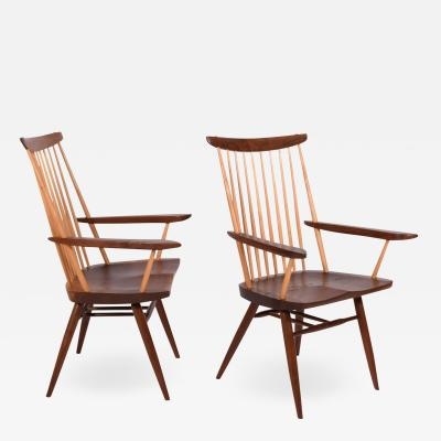 Mira Nakashima Pair New arm chairs design by George Nakashima