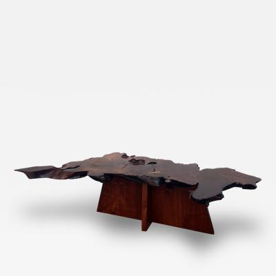 Mira Nakashima Rare and Exceptional Walnut and Redwood Root Coffee Table by Mira Nakashima