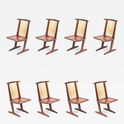 Mira Nakashima Set of Eight Mira Nakashima Walnut Conoid Dining Chairs Signed and Dated 1992