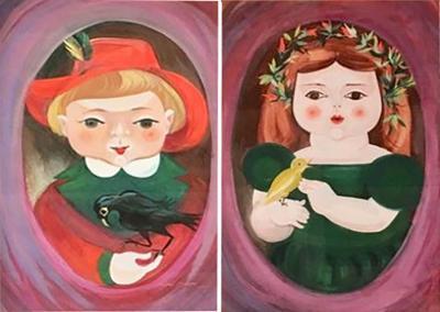 Miriam Dimondstein Pair of a Little Boy and a Little Girls Portraits by Mimi Dimondstein